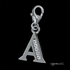 Fine Sterling Silver CZ Initial Letter A European Clip On Charm #94280