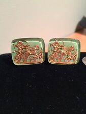 Vintage Intaglio Mythical Chariot Glass Cameo Cufflinks -
