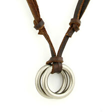 Adjustable Punk Cool Men's Double Ring Pendant Cow Leather Necklace Fashion