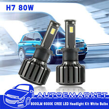 80W 8000LM H7 CREE LED Headlight Kit Low Beam Light Bulbs 6000K White High Power