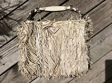 Authentic Prada Nappa Frange Tote  Fringe Brand  Handbag Purse Tan