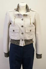 GUCCI hellgrau Lederjacke Strickbündchen I42 D36 F38 lightgrey leather jacket