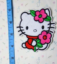 1pcs Hand flowers Hello Kitty Sewing Notions Patch Iron On Embroidered Appliques
