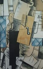 "Vintage 60s Abstract Surrealism Silkscreen BRAQUE 16x23"" Violin Sheet Music RARE"