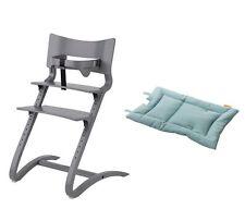 Leander Stuhl grau lackiert Babyhochstuhl Kinderstuhl + Bügel + Kissen blue