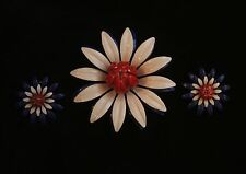 Vintage Large Enamel Red White And Blue Flower Daisy Pin Brooch and Earrings