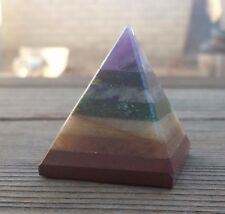 NATURAL 7 CHAKRA BONDED MEDIUM GEMSTONE PYRAMID 35-40MM