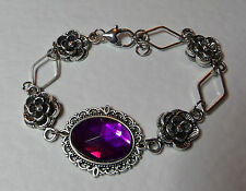 VICTORIAN STYLE - DIAMOND ROSE - PURPLE ACRYL CRYSTAL SILVER PLATED BRACELET DR