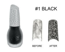 Black Crack Nail Crackle Shatter Pattern Polish Fashion Color
