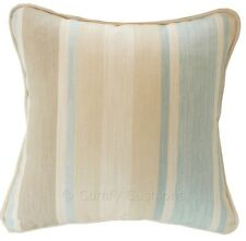 """1 x 16"""" x 16"""" Laura Ashley Awning Stripe  Duck Egg fabric piped Cushion Cover"""