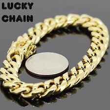"8.5"" STAINLESS STEEL GOLD MIAMI CUBAN LINK CHAIN BRACELET 10mm 45g A29"