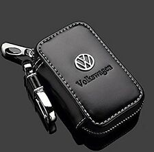 VW Volkswagen Black Premium Leather Car Key Chain Coin Remote Wallet NEW