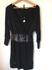 Next Size 6 Black Sequin Trim BNWT Viscose Long Sleeve Dress  T9965