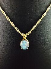 Genuine Triplet Opal Necklace Pendant w Certificate Chain Twice 18ct Gold Plated