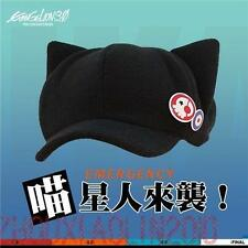 Anime Evangelion 3.0: Q Shikinami Asuka Black Cat Ear Hat Cap with Badges