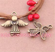 P526 20pcs Antique Bronze angel Pendant Bead Charms Accessories wholesale