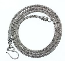 Suarti BA Bali Indonesia 3mm Wheat Chain Snake Necklace- Sterling Silver- 20.5""