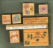SET OF 7 ASSORTED THEMES RUBBER STAMPS ~TEDDY BEAR~FLOWER~CONGRATULATION#emc1014
