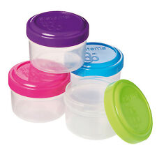 Sistema To Go Mini Dressing Sauce Cream Lotion Pots Set 4 Green Blue Pink Purple