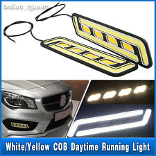 2x COB LED Daytime Running Light DRL Daylight Fog Lights + Turn Signal Lamp 12V