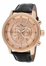 Lucien Piccard Watch 12011-RG-09 Men's Monte Viso Chrono Black Genuine Leather