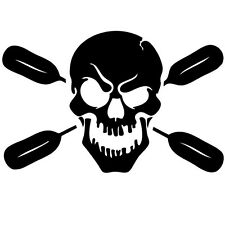 Skull with oars paddle vinyl decal sticker Kayak Fishing car truck canoe truck
