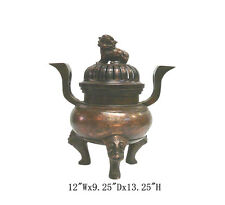 Chinese Copper Foo Dog Gold Painting Design Incense Burner WK2506