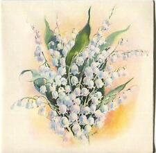 VINTAGE WHITE LILY OF THE VALLEY GARDEN BIRTH FLOWER OF MAY LITHO CARD ART PRINT