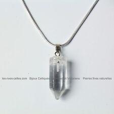 Collier pendentif en cristal transparent sur chaine argent 925/1000