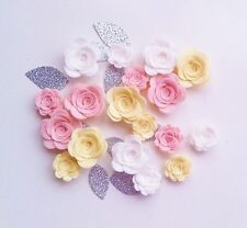 18 Sizzix die cut felt 3d flowers/rose & glitter leaves.Sewing,headbands,bunting