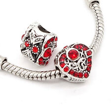 Fashion 1pcs silver heart European Charm BeadS Fit 925 Silver  Bracelet SH707