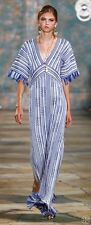 Tory Burch Debra Caftan Dress Tunic Runway Blue XL RARE 14 NWT $895 FRINGE GOWN