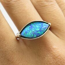 Signed Vtg 925 Large Iridescent Blue Opal Gem Womens Modernist Ring Size 10