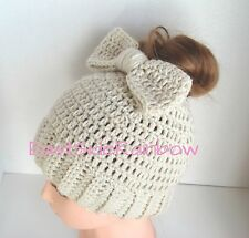 FreeShip! Messy Bun Ponytail Hat with Bow Handmade Crochet Beanie Hat Knit Women