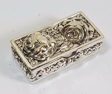VINTAGE SILVER PLATED PILL TRINKET SNUFF BOX - ROSES