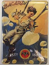 Bacardi Woman Parachute miniature metal sign / postcard  110mm x 80mm (hi)