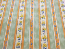 "Green & Orange Floral Stripes ""Lago"" Printed 100% Cotton Curtain Fabric"