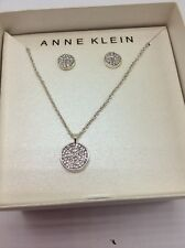 $28 Anne Klein 2 Piece Pave Earrings Silver Tone Pave  Disk