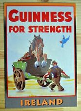 VINTAGE STYLE Funny RETRO METAL PLAQUE GUINNESS FOR STRENGTH Ad/Sign