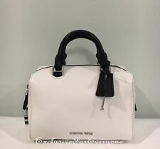 NWT Michael Kors Kirby XS Mini Satchel Crossbody White Black Leather Bag $248