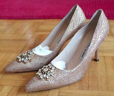 New Manolo Blahnik gold jacquard crystal buckle shoes, sz 37 / US 7, $1895