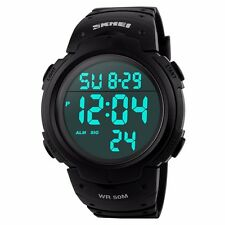 SKMEI S-SHOCK Men Mens Stainless Steel Wristwatch LED Digital Waterproof Watch