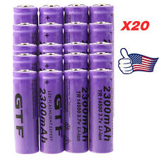 20pcs 3.7V 2300mAh 14500 AA Li-ion Rechargeable Battery For LED Flashlight Torch