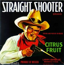 Brownsville Texas John Wayne Straight Shooter Orange Fruit Crate Label Art Print