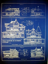 "Vintage House Ocean Front Sea Cottage 1881 Blueprint 24"" x 32""   (058)"