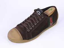 * GUCCI * Recent Brown Suede LOGO Skate Sneakers Shoes +Box US 9.5