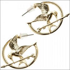 Hunger Games Mockingjay Cosplay Costume Gold Zinc Alloy Hoop Earrings LICENSED