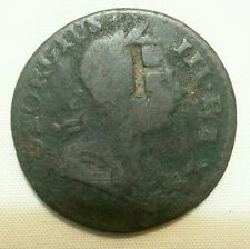 F countermark host 1773 colonial non-regal british halfpenny counterstamp coin