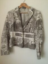 Toni Gard Jacket Taupe and Cream Printed Cotton Size 10   T1593