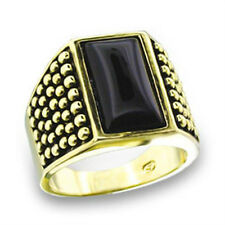 GIFTS FOR MEN Size 9 R Gold Plated with Jet Black Stone Signet Classic Ring